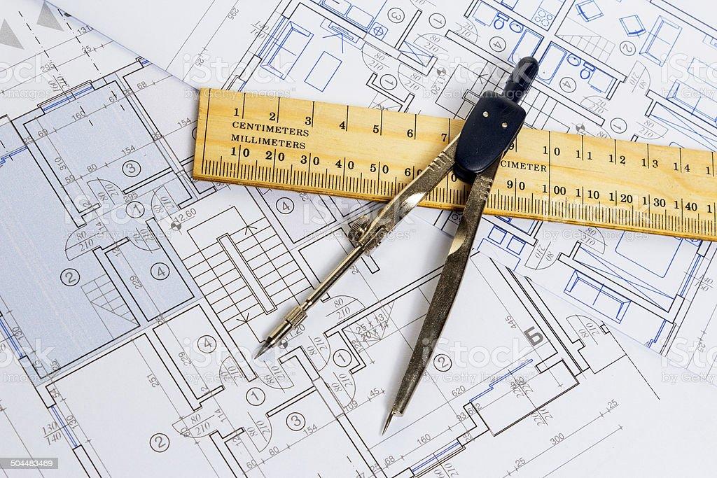 architect blueprints royalty-free stock photo