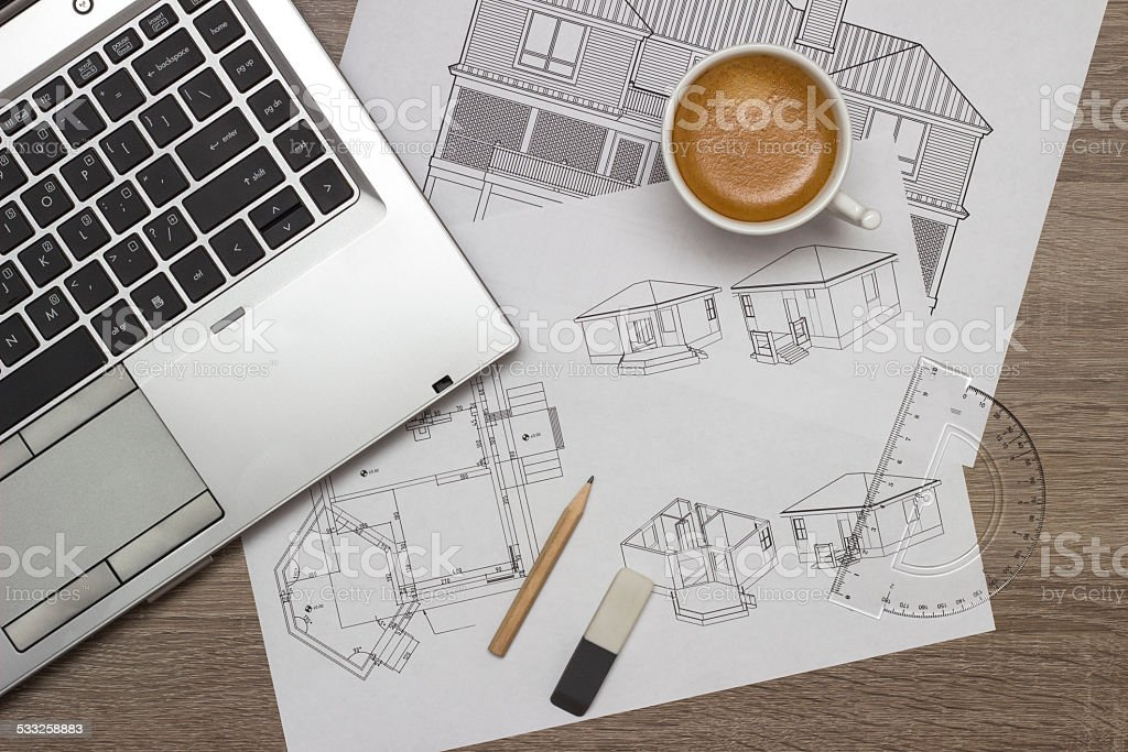 Architect blueprints stock photo