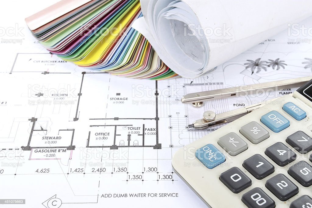 Architect concept of design and project drawings royalty-free stock photo