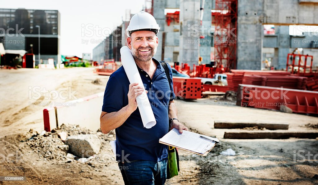 Architect Construction Site Planning Working Concept stock photo