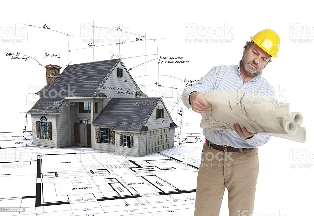 Architect consulting his plans royalty-free stock photo