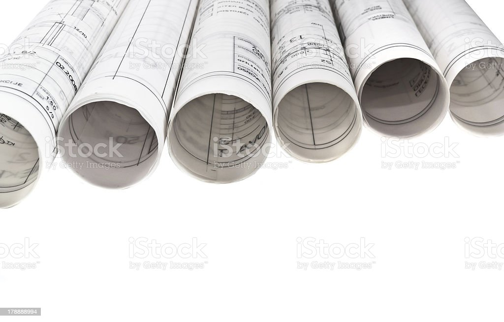 architect design blueprints project drawings royalty-free stock photo