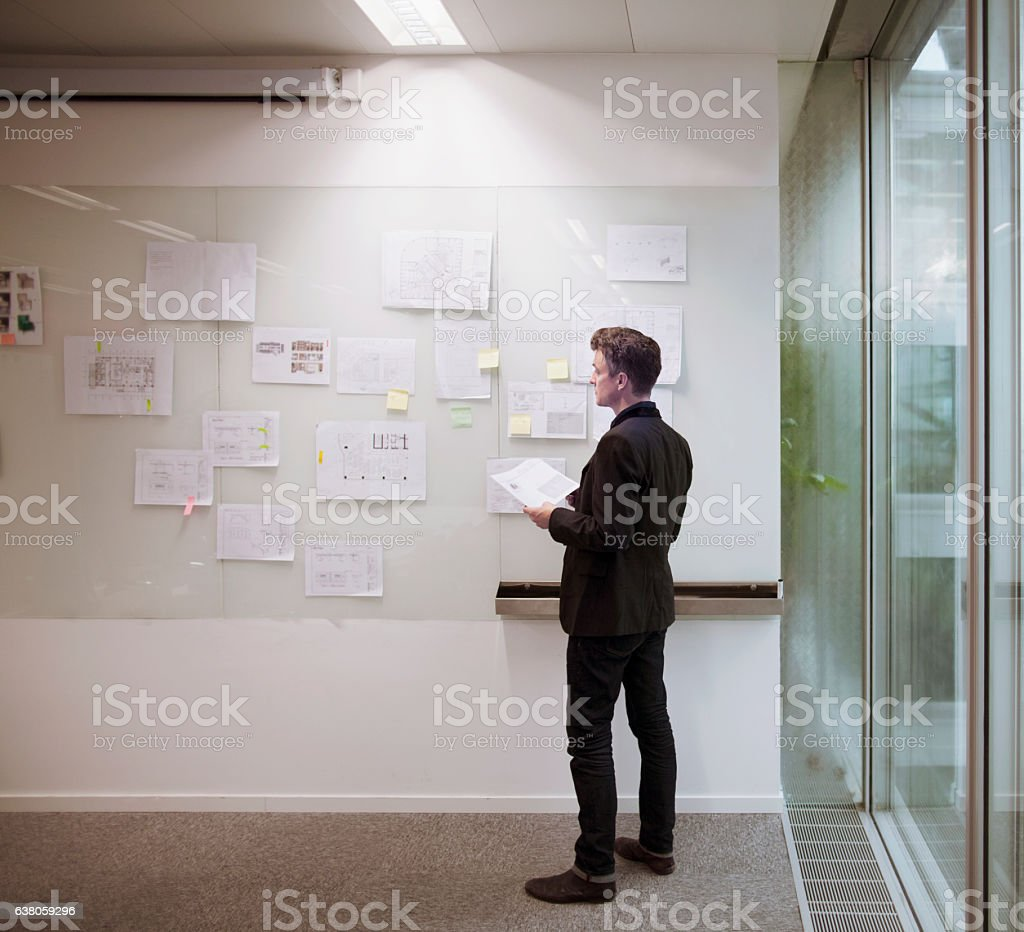 Architect designer reviewing plans on wall in modern office stock photo