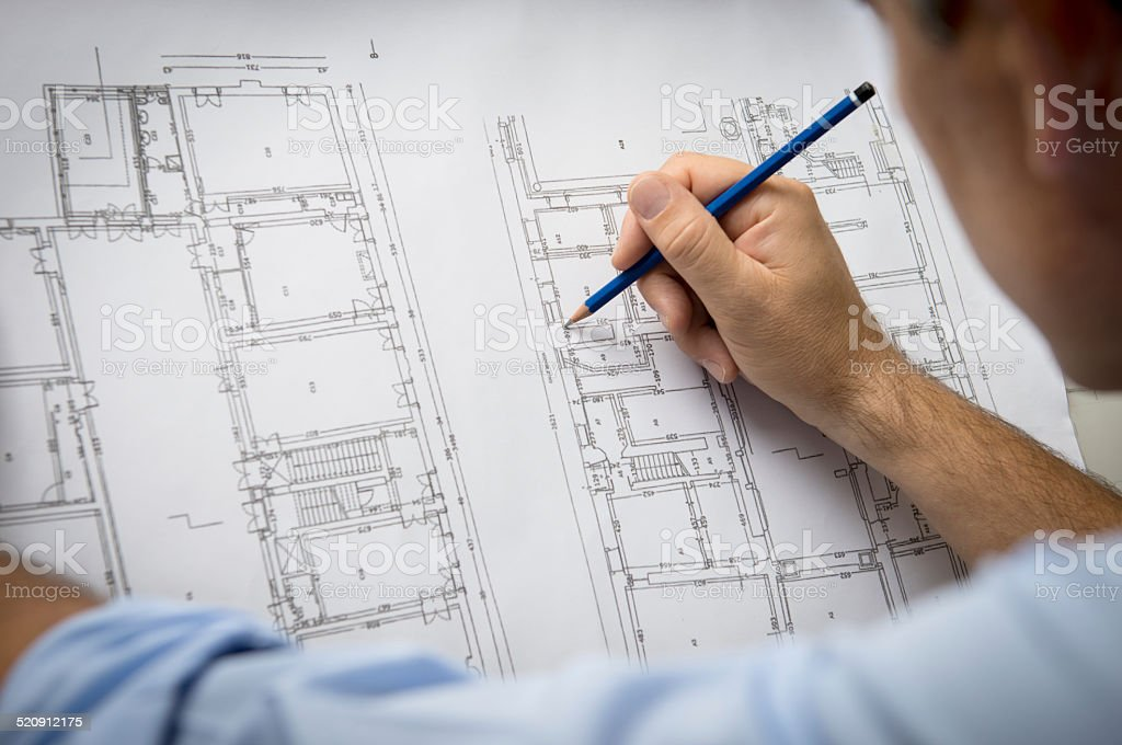 Architect Designing A New Building stock photo