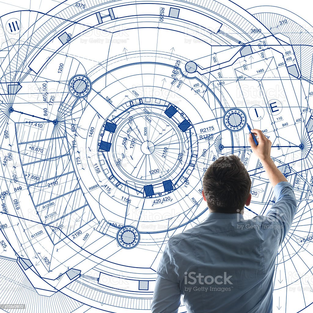 Architect designing on a big whiteboard stock photo