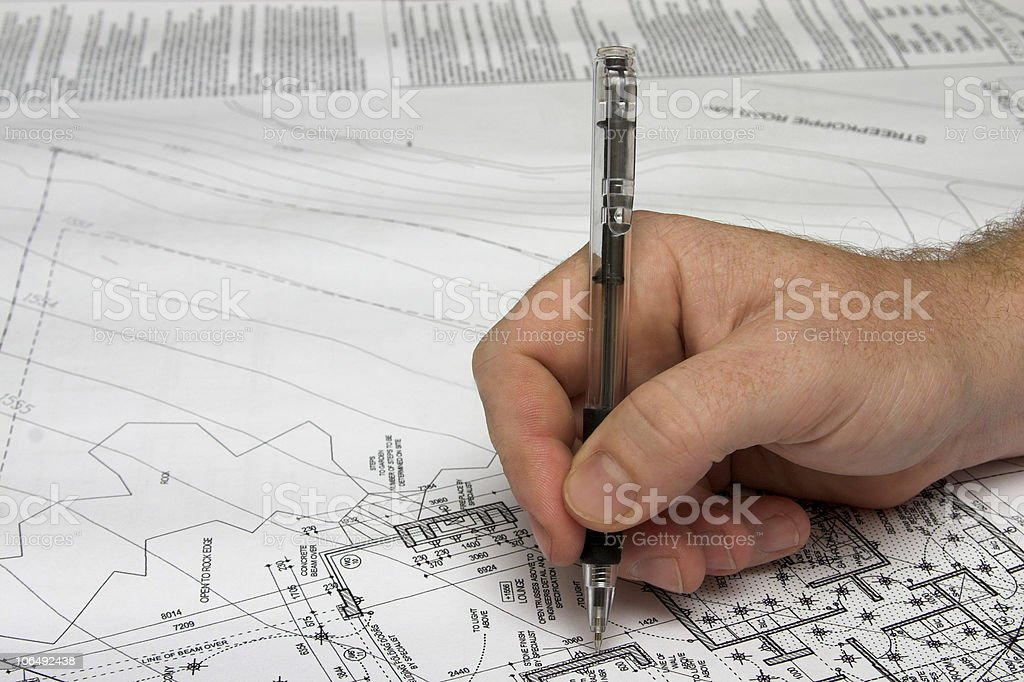Architect drawing a plan. royalty-free stock photo