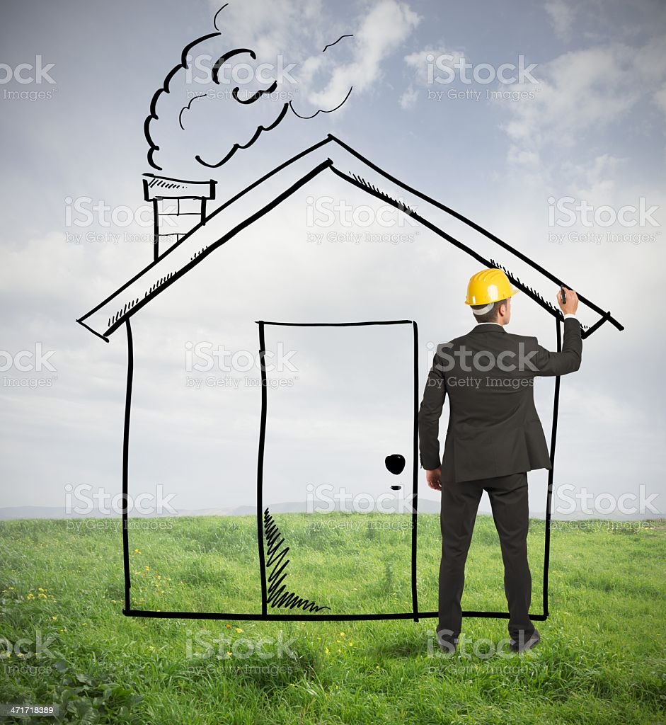 Architect drawing home stock photo