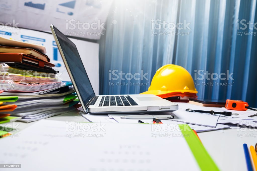 Architect engineering desk table workplace. stock photo