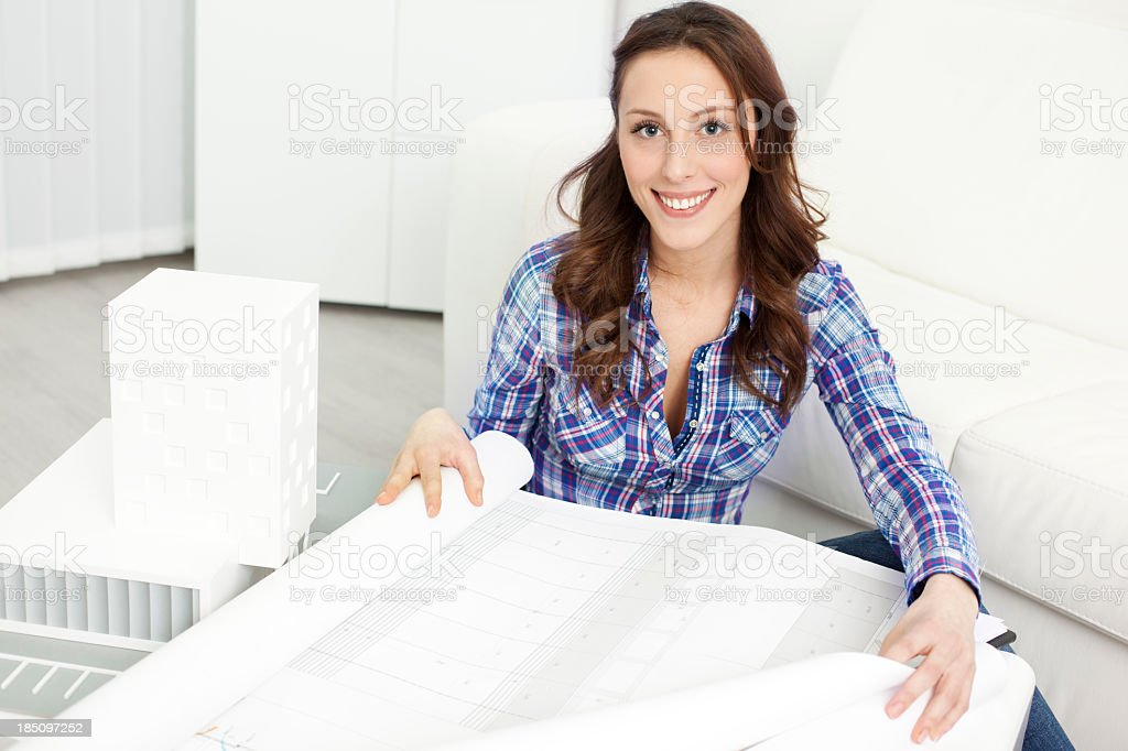 Architect Examining Blueprints. royalty-free stock photo