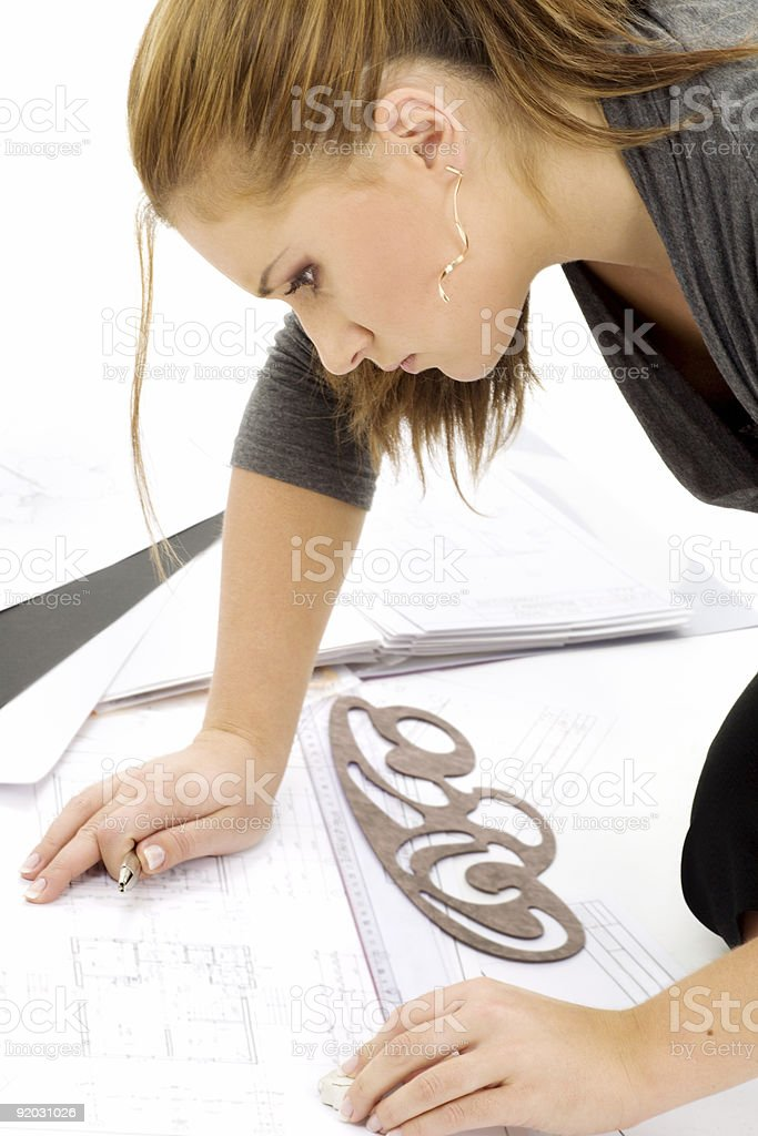 architect girl at work royalty-free stock photo