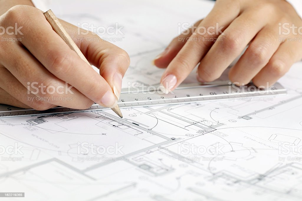 Architect hands and blueprint royalty-free stock photo
