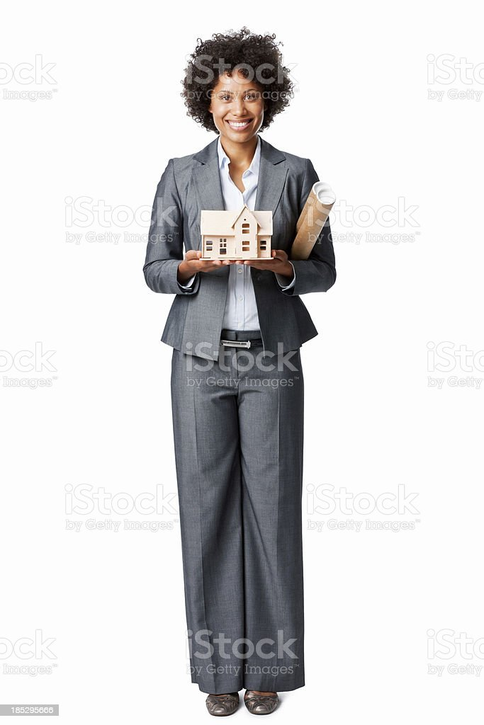 Architect Holding a Model Home  - Isolated royalty-free stock photo
