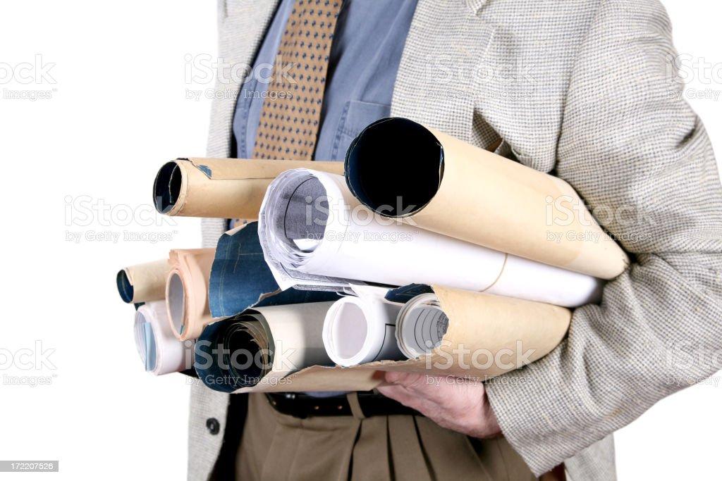 Architect holding blueprints royalty-free stock photo