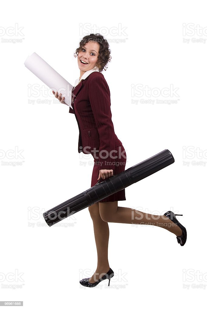 Architect holding tube with blueprints is in hurry royalty-free stock photo