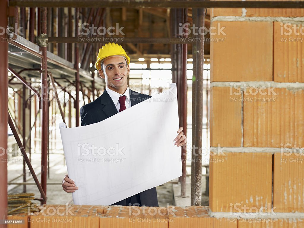 architect in construction site royalty-free stock photo