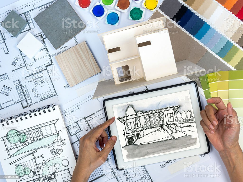 Architect, Interior Designer Working At Worktable With Tablet, Home Model  Royalty Free Stock Part 41