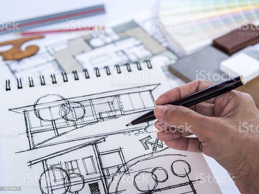 Architect /interior's hand drawing illustration of home renovation stock photo