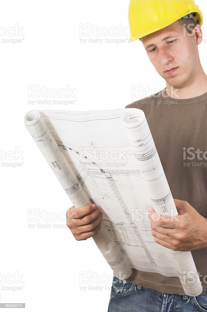Architect looking at plans royalty-free stock photo