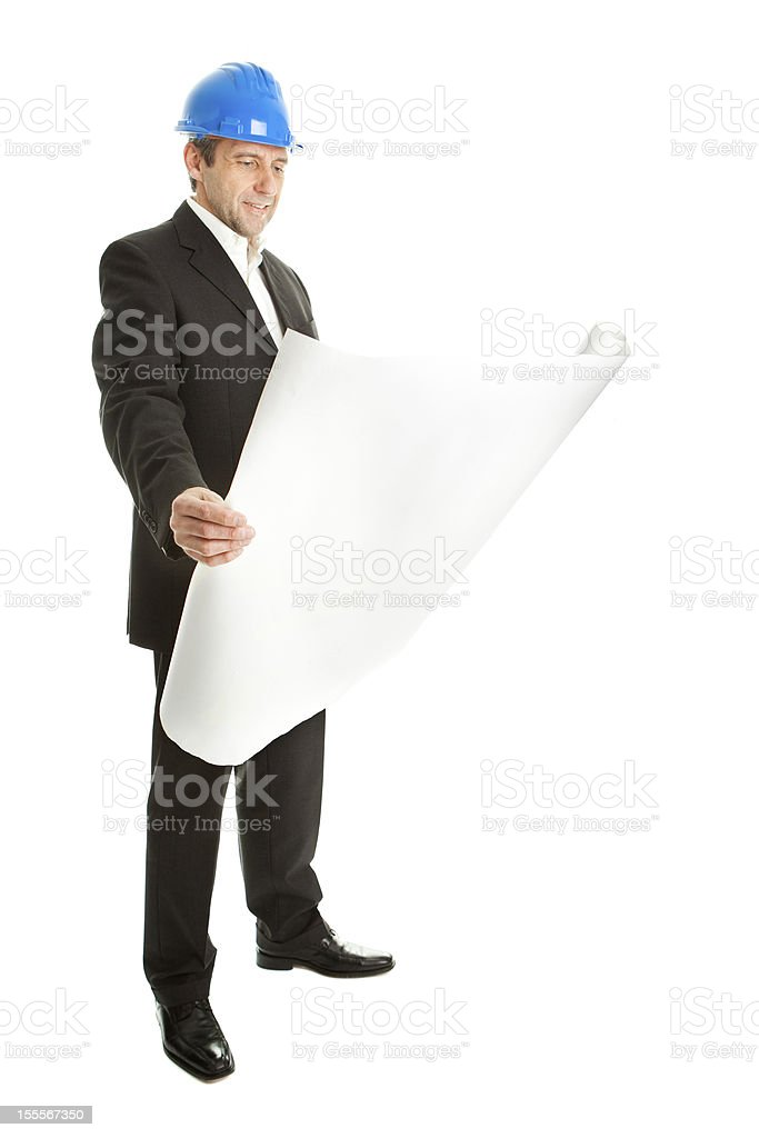 Architect looking into blueprints royalty-free stock photo