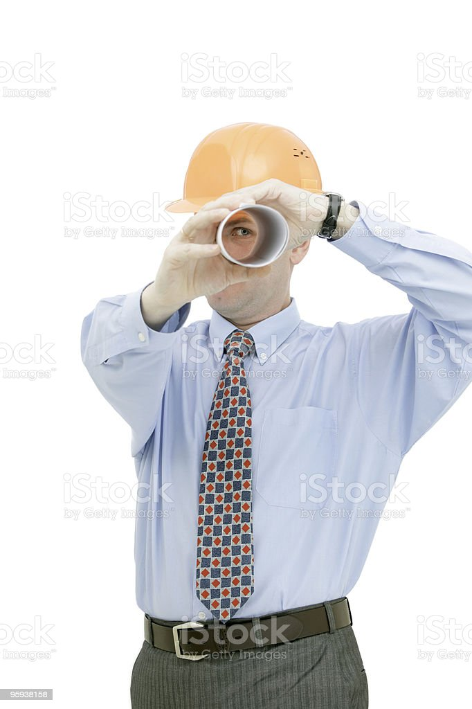 Architect looking through a tube royalty-free stock photo