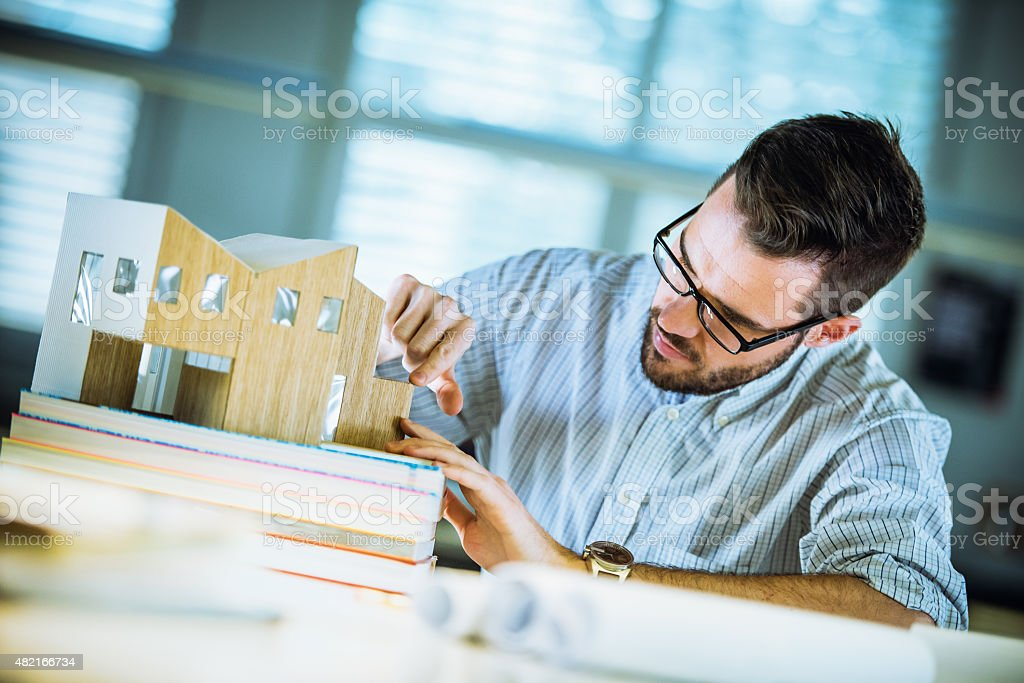 Architect making architectural model stock photo