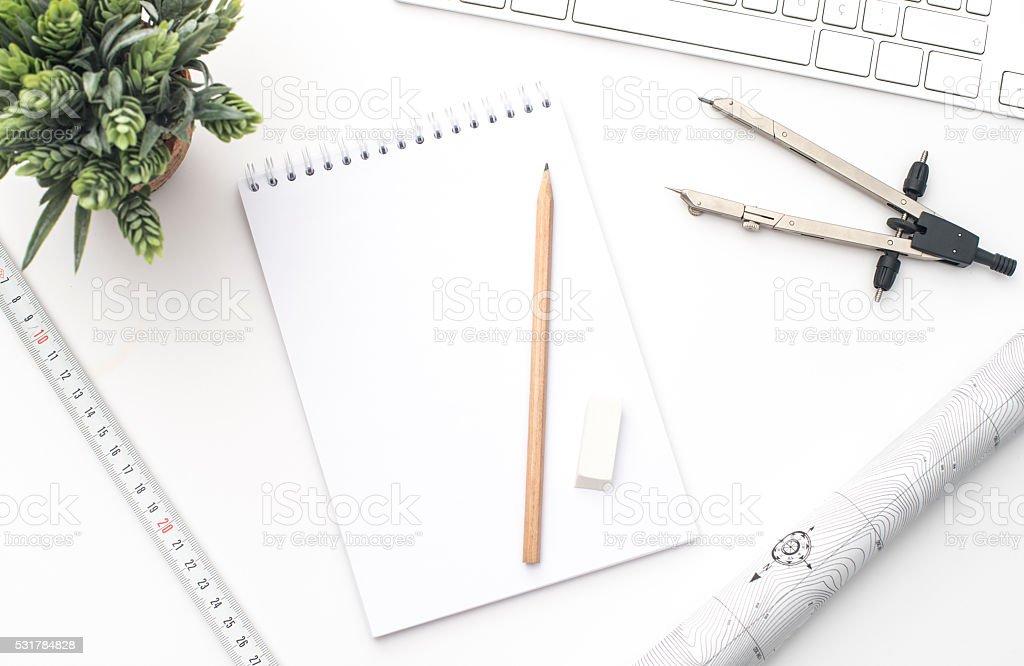 Architect Office desk stock photo