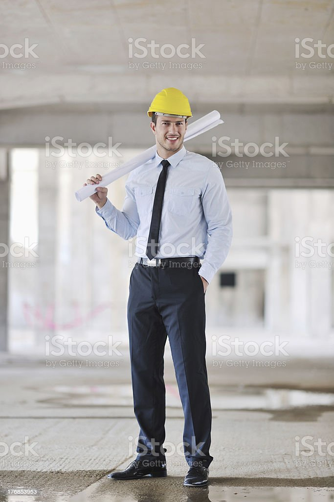 architect on construction site royalty-free stock photo
