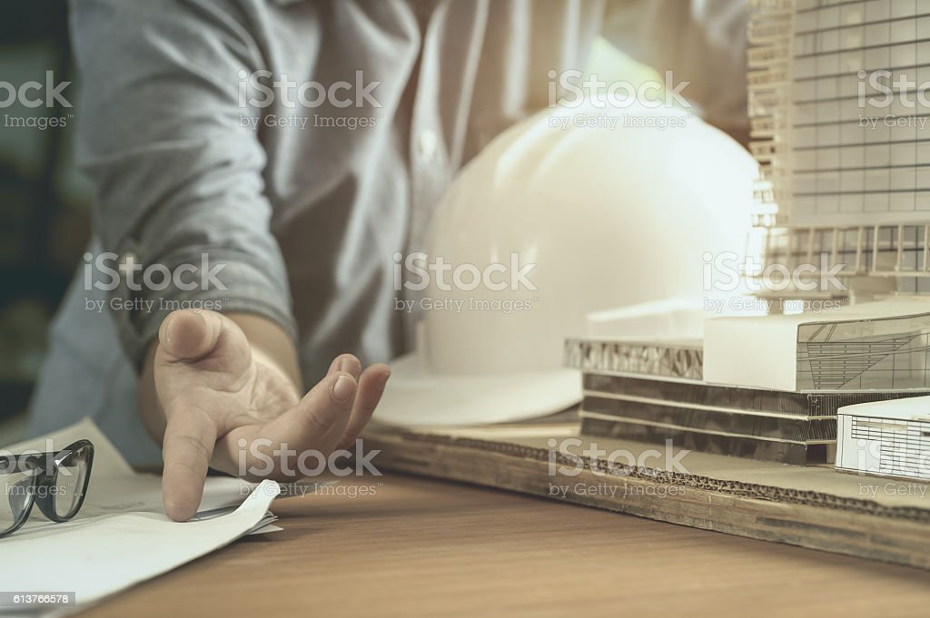 Architect or engineer working in office stock photo
