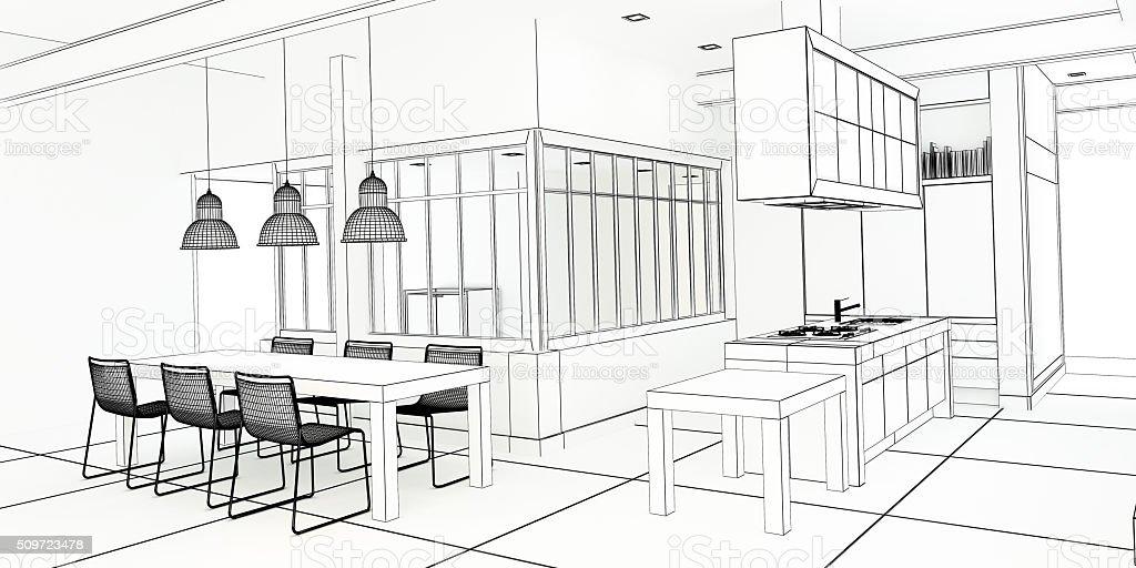 Architect plan impressive kitchen stock photo