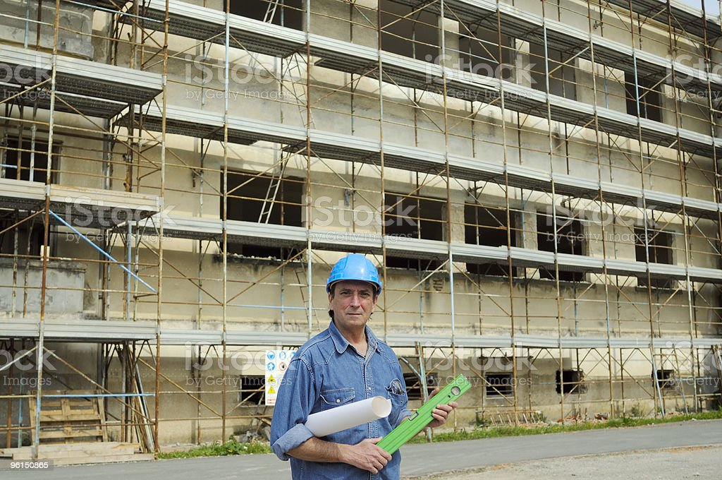 Architect Planning in a Construction Site royalty-free stock photo