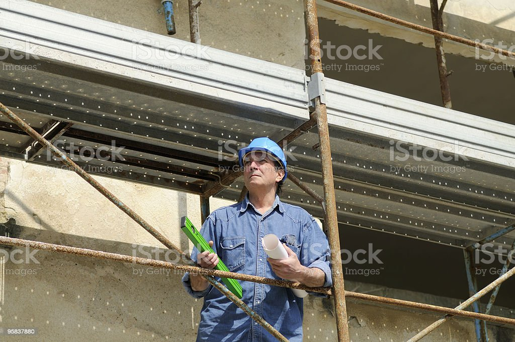 Architect Planning in Construction Site royalty-free stock photo