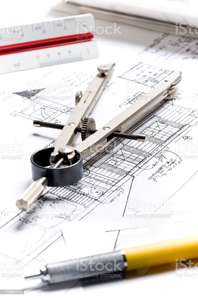Architect Plans and Equipment stock photo