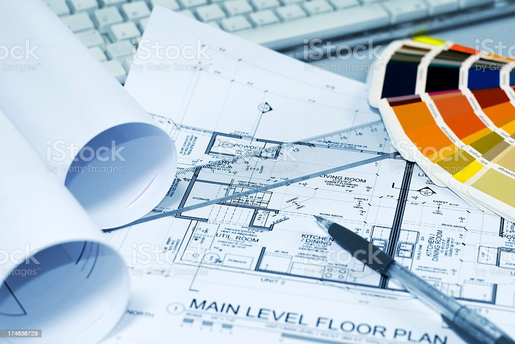 Architect plans royalty-free stock photo