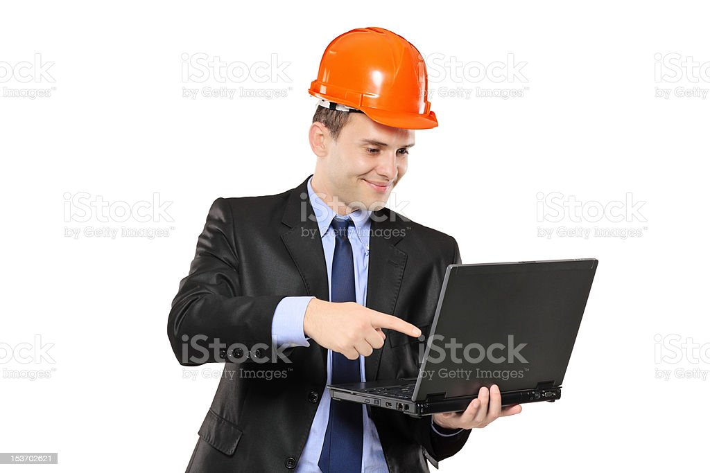 Architect pointing at laptop royalty-free stock photo