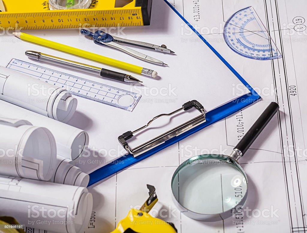architect tools on blueprint royalty-free stock photo