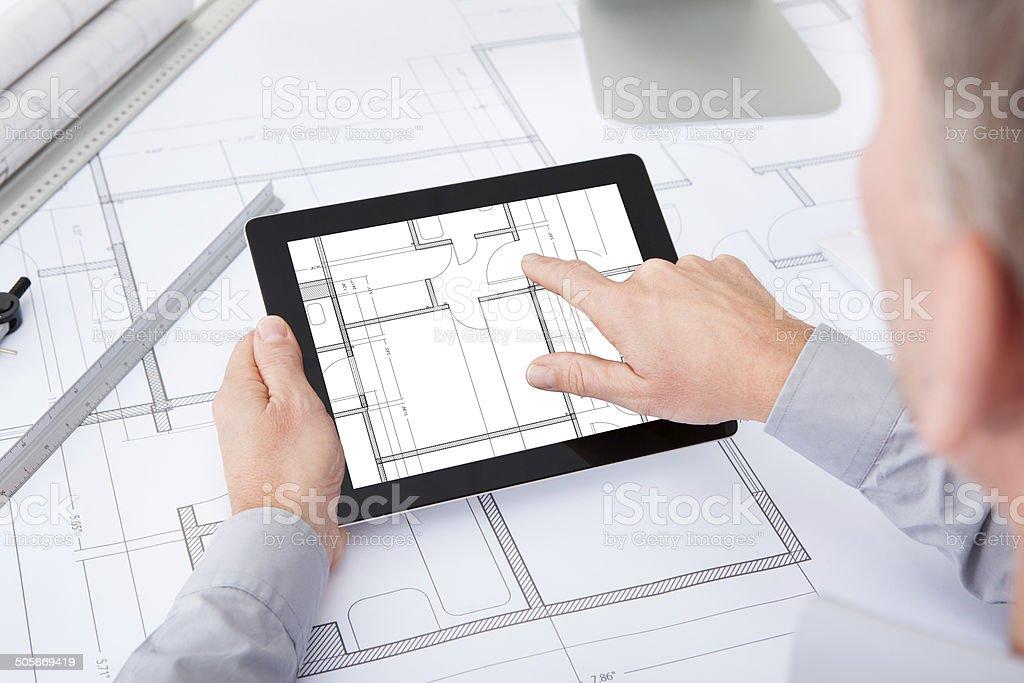 Architect Using Digital Tablet royalty-free stock photo