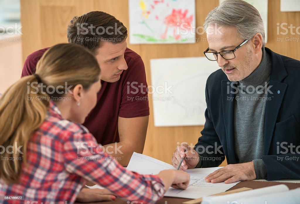 Architect With Clients stock photo