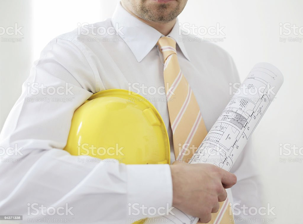architect with helmet and blueprint royalty-free stock photo