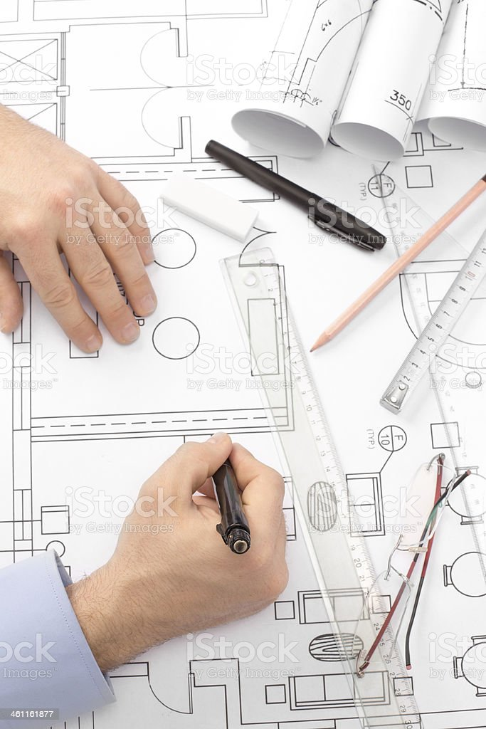 Architect With Plans royalty-free stock photo