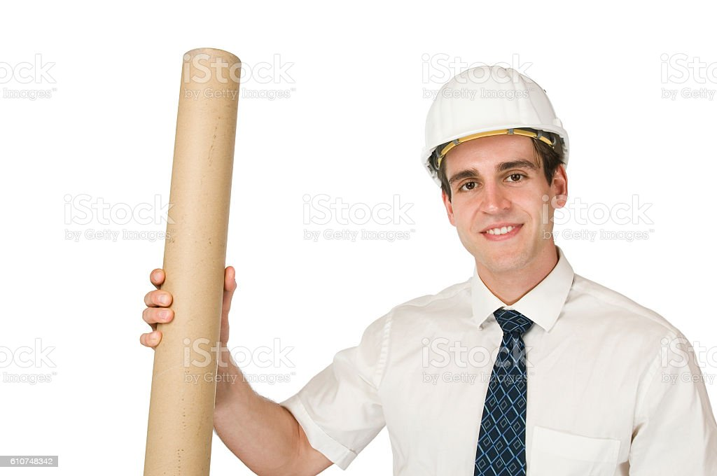 architect with roll on white stock photo
