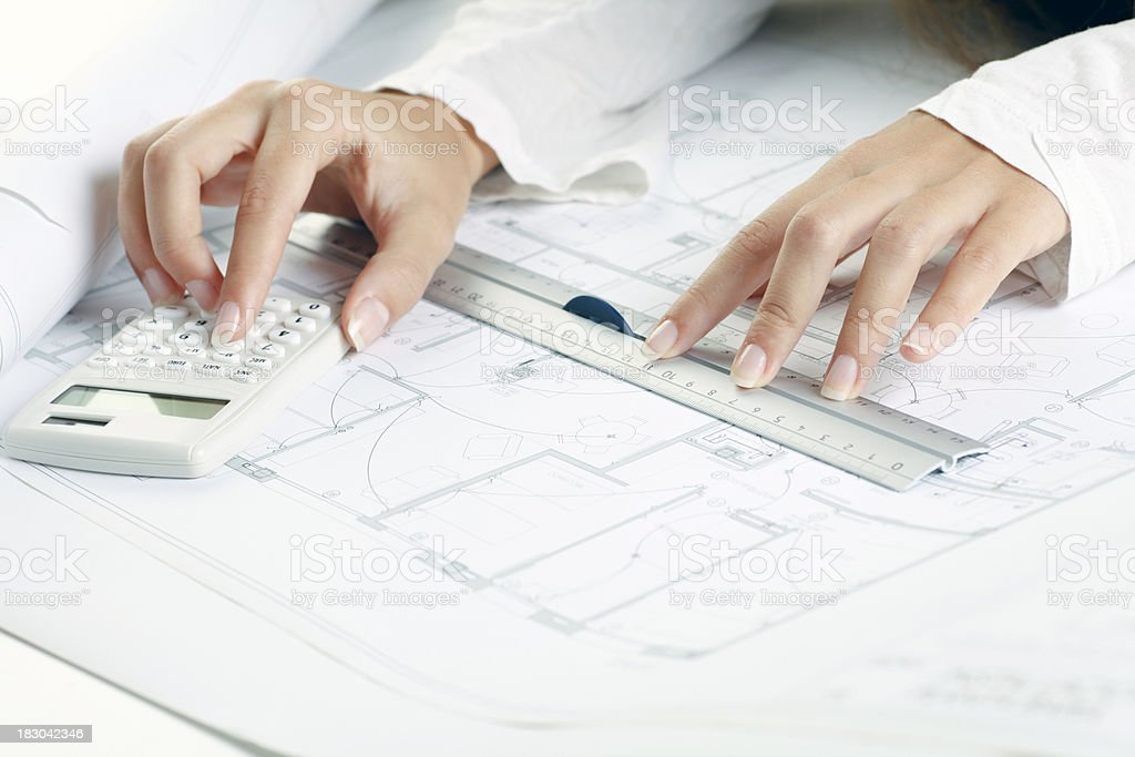 Architect woman at work royalty-free stock photo