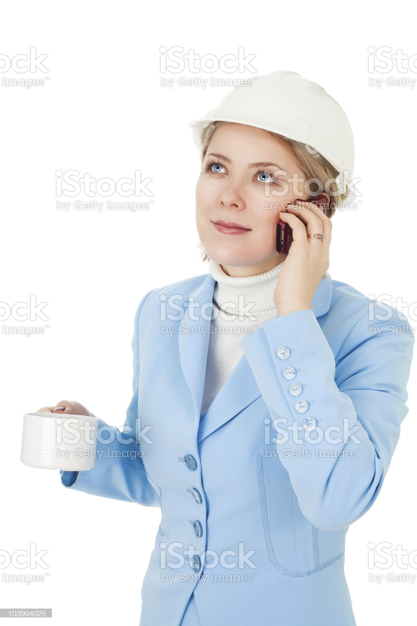 architect woman calling by phone royalty-free stock photo