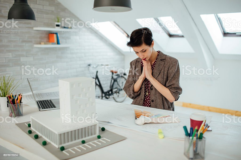 Architect Working In Her Office. stock photo