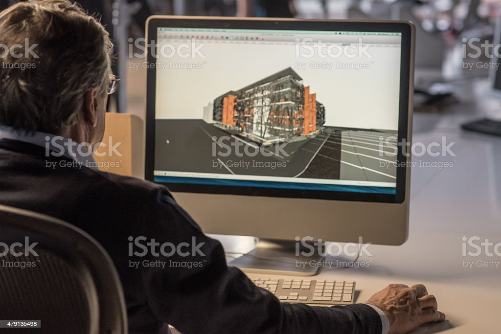 Architect Working on Computer stock photo
