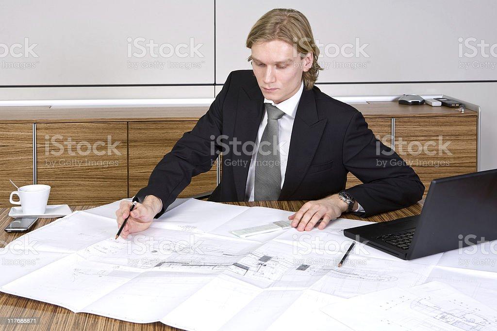 Architect working on design royalty-free stock photo