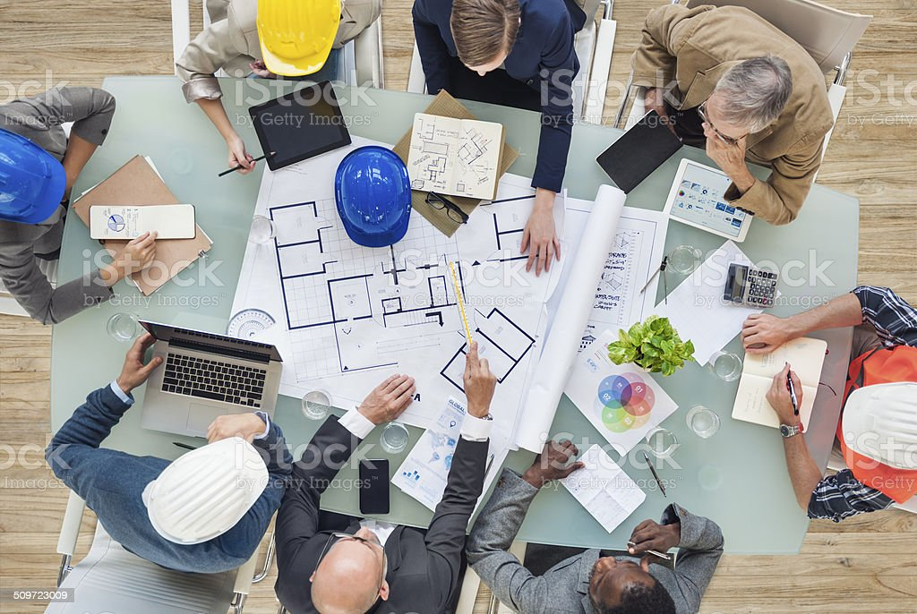 Architects and Engineers Planning on a New Project stock photo