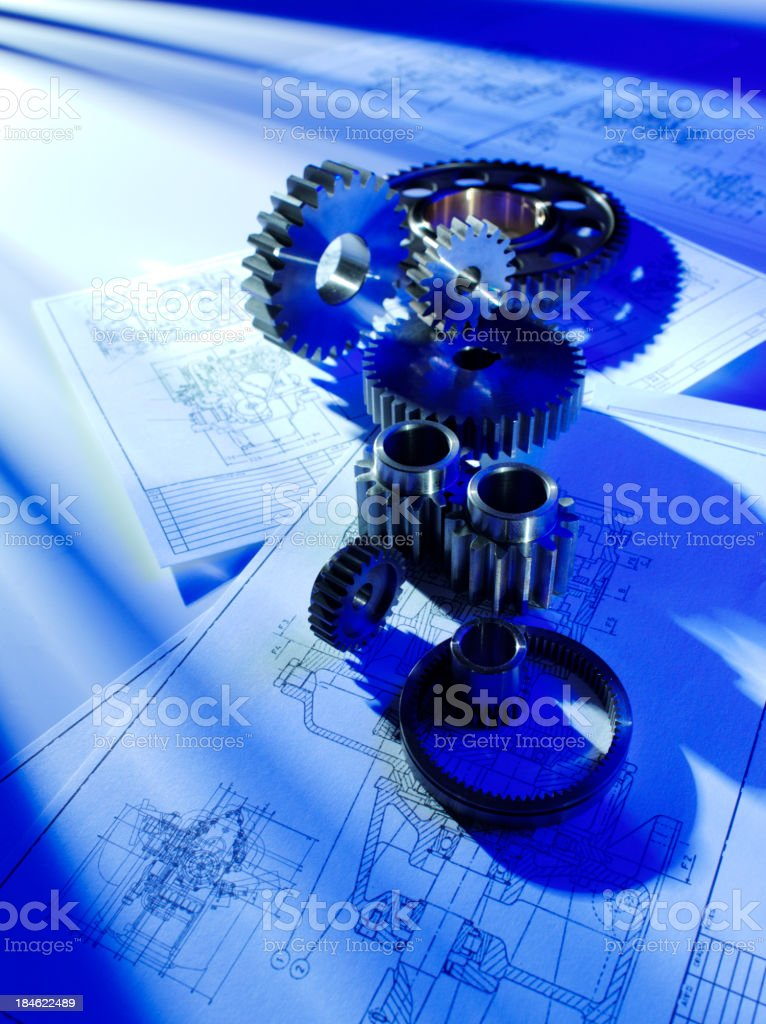 Architects Blueprints and Cogs royalty-free stock photo