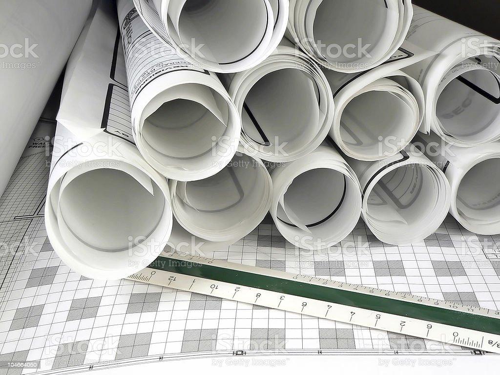 Architects Blueprints royalty-free stock photo