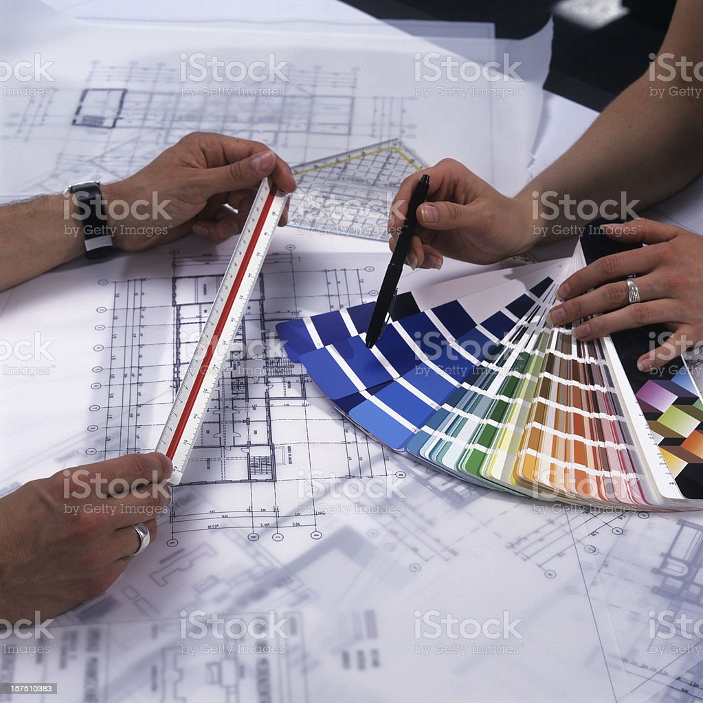 Architects checking the colors royalty-free stock photo