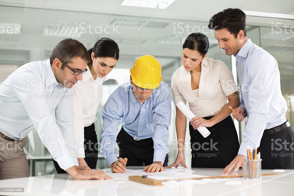 Architects discussing about the project royalty-free stock photo